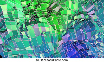 3d low poly abstract geometric background with modern gradient colors. 3d surface blue green gradient colors with grid 5