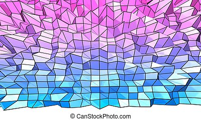 3d low poly abstract geometric background with modern gradient colors. 3d surface blue red violet gradient colors with grid. 5