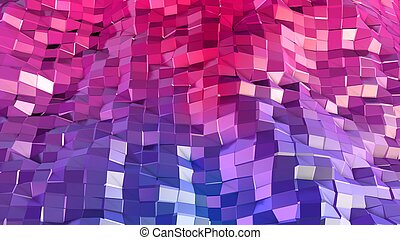 3d low poly abstract geometric background with modern gradient colors. 3d surface blue red violet gradient colors. 5