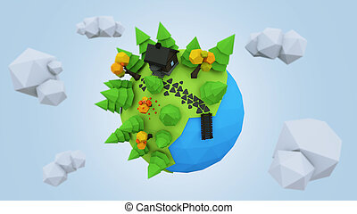 3D Low Poly Planet, rendering illustration