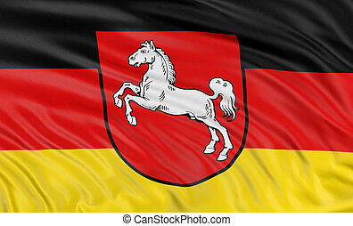 Rendering of flag Lower Saxony with fabric texture. White background.