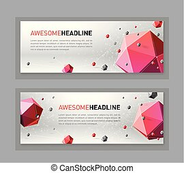 3d lowpoly abstract flyer template. Archimedean solids...