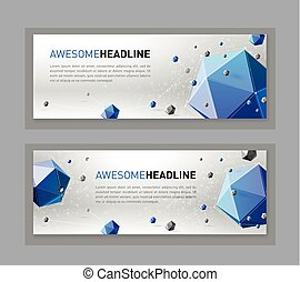 3d lowpoly abstract web slideshow template - Abstract flyer...