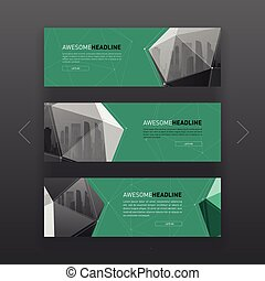 3d lowpoly solid abstract corporate banner template. - 3d...