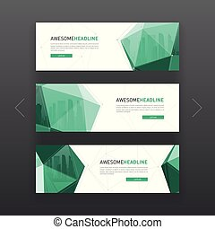 3d lowpoly solid corporate web banner template - 3d lowpoly...