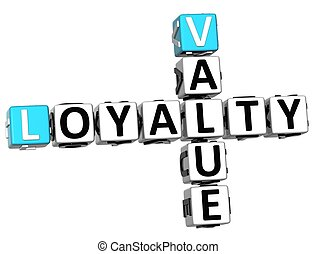 3D Loyalty Value Crossword on white background
