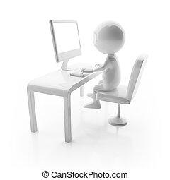 3d, lucido, carattere, lavorare computer