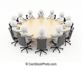 3d, ludzie handlowe, spotkanie