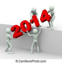 3d, ludzie pracujące razem, do, miejsce, rok, 2014