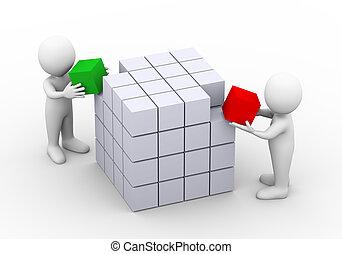 3d, ludzie pracujące razem, z, sześcian, boks, budowa, projektować