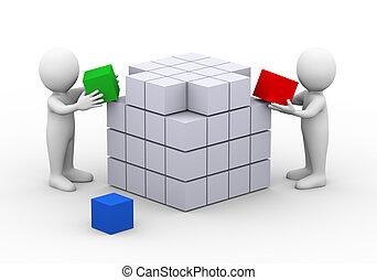 3d, ludzie, pracujący, dokompletowując, sześcian, boks, budowa, projektować