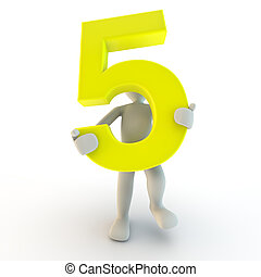 3d, ludzki, litera, dzierżawa, żółty, liczba piątka, mały, ludzie