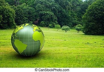 3d, lustroso, globo, em, um, verde, pradaria
