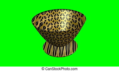 3d luxurious decorative black bowl with golden texture, changing position in space, video on green screen