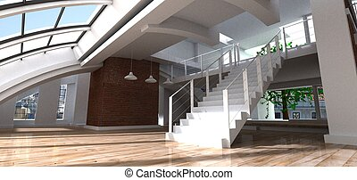 3D luxury loft - 3D rendering of a luxurious loft