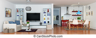 3d - luxury modern loft apartment - panorama