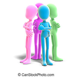 3d, mâle, icône, toon, caractères, avoir, rien, à, say., 3d, rendre, à, attachant voie accès, et, ombre, sur, blanc