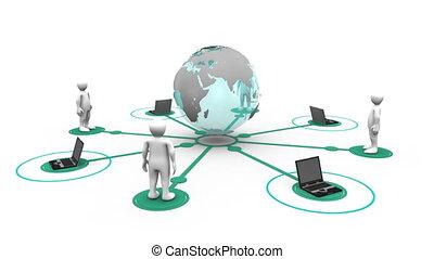 3d, mężczyźni, i, laptopy, połączony