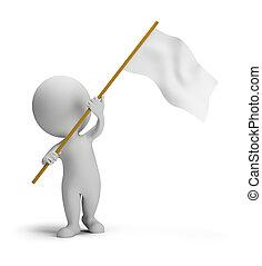 3d, mały, ludzie, -, bandera