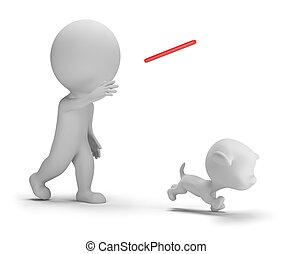 3d, mały, ludzie, -, interpretacja, z, przedimek określony przed rzeczownikami, pies