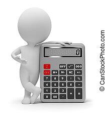3d, mały, ludzie, -, kalkulator