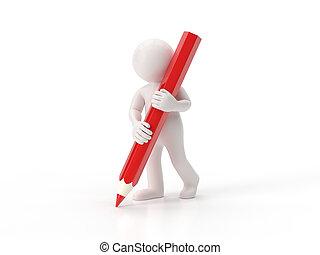3d, mały, ludzie, -, ołówek
