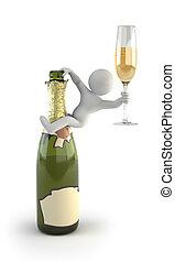 3d, mały, ludzie, -, szampan