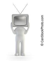3d, mały, ludzie, -, telewizja, człowiek