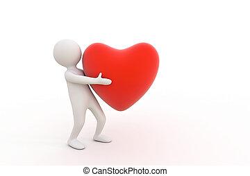 3d, mały, osoba, i, czerwone serce