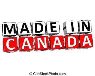 3D Made in Canada button over white background