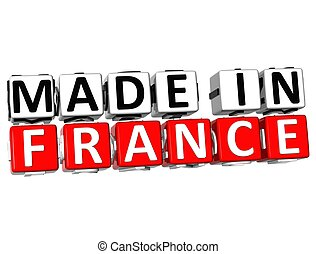 3D Made in France button over white background