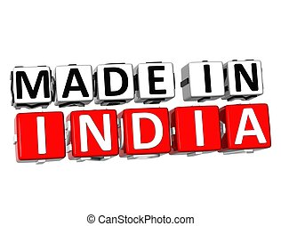 3D Made in India button over white background