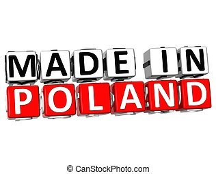 3D Made in Poland button over white background