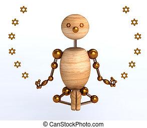 3d, madeira, homem, meditação