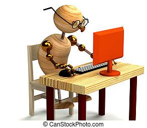 3d, madeira, homem trabalha computador