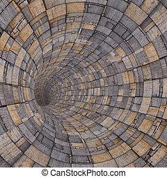 3d, madeira, madeira, azulejo, tecno, túnel, cano