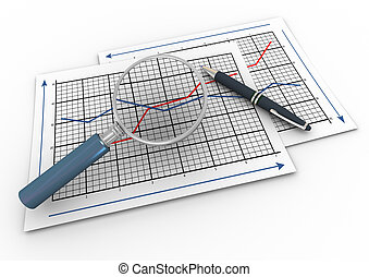 3d magnifier and graph - 3d render of pen and magnifying...