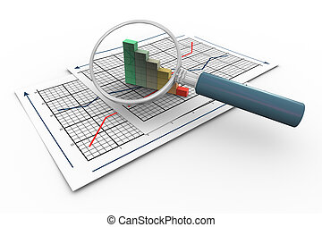 3d magnifying glass hovers over progress bars on graph paper