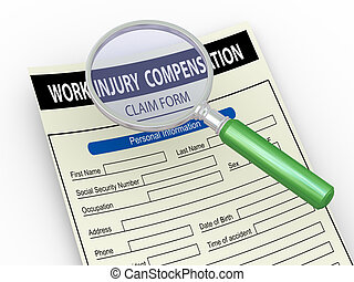 3d magnifier and work injury claim form - 3d illustration of...