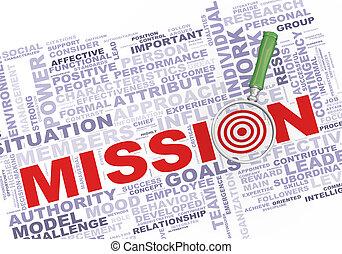 3d magnifier over mission wordcloud - 3d illustration of...