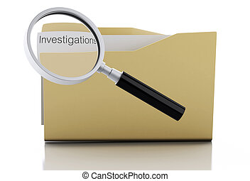 3d Magnifying glass examine investigations in folder - 3d...