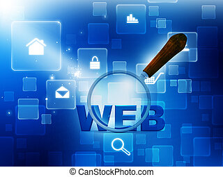 3d magnifying Glass is searching the internet web