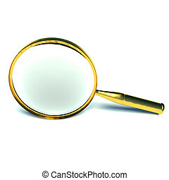 3d magnifying glass set in gold.