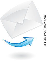 3d mail icon - 3d mail and blue arrow isolated on white