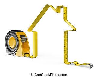 3d, maison, concept, tape., mesure