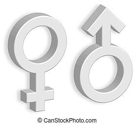 3D male and female symbols with shadow on the wall. Toilet marks. EPS10 vector illustration