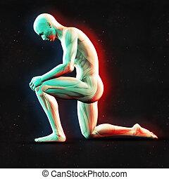 3D male figure holding knee