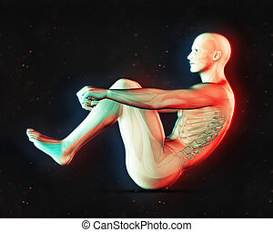 3D male figure in sit up position