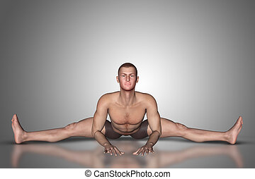 3D male figure in yoga pose
