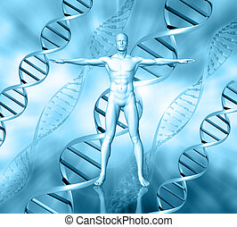 3D male figure on medical background with DNA strands
